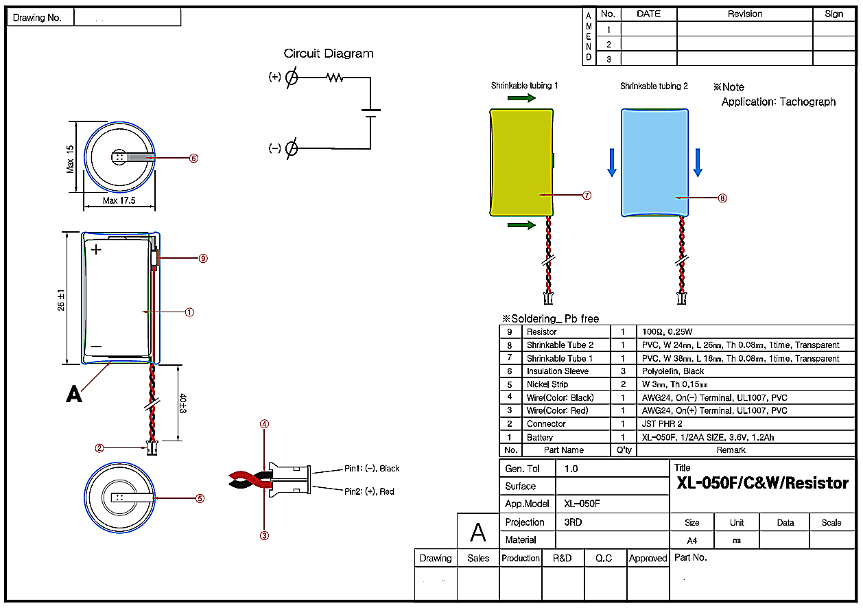 Battery For Digital Tachographs Xenoenergy Xl 050f 3 6v